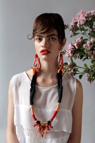 Velvet Coral earings from Pichulik's 2014 Spring/Summer Collection. Image: