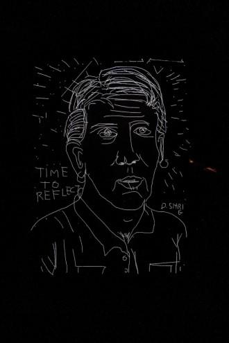 David Shrigley's self portrait for Ron Arad's Last Train project.