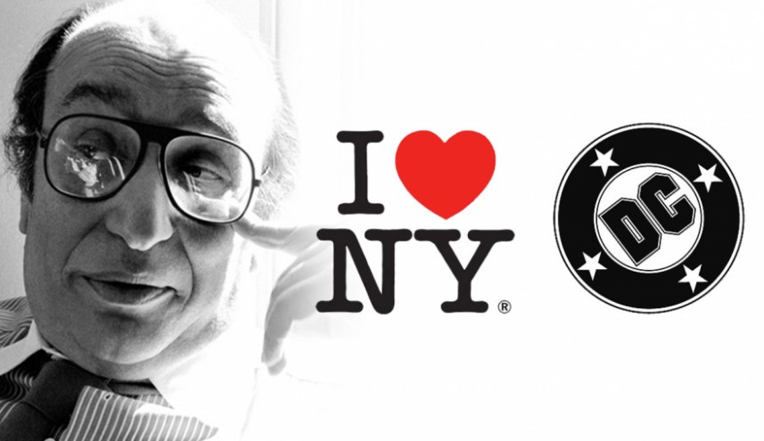Milton Glaser and his I ♥ NY logo and DC bullet. Photo by Sam Haskins. Image: Phaidon.