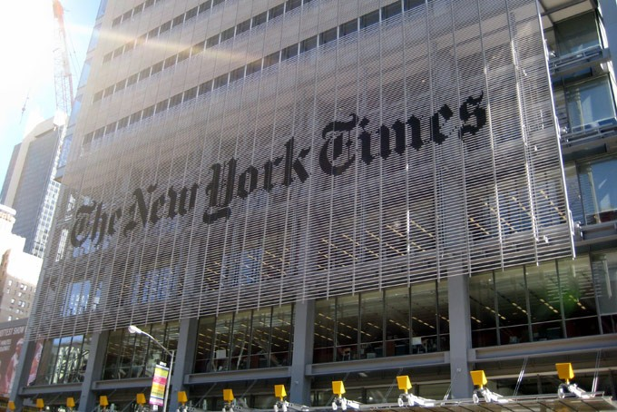 New York Times Building signage solution by Michael Bierut.