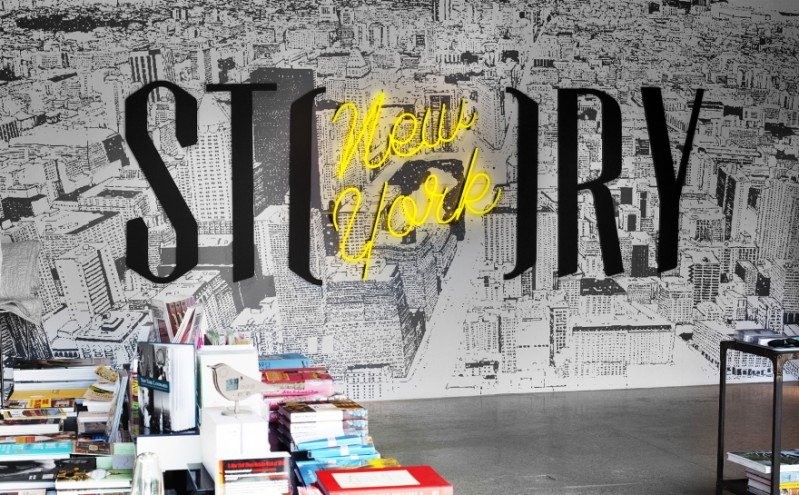 "Interior of ""Story"", a store in the meatpacking district of NYC that changes themes every six weeks. Logo and creative direction by Stefan Sagmeister."