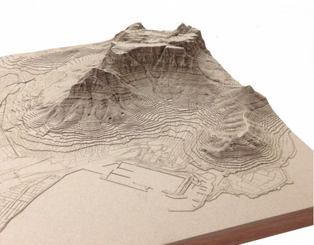 Nikki Onderstall's laser cut models of Cape Town.