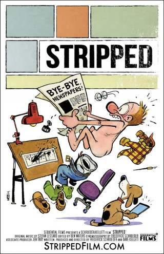 "Bill Watterson's illustrated poster for the documentary film ""Stripped""."