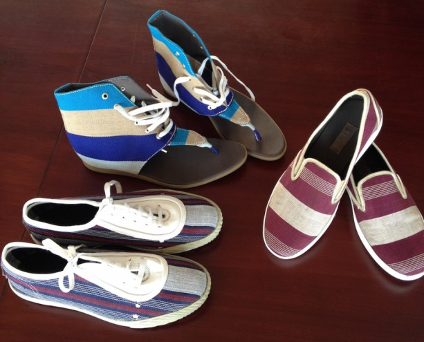 Tunde Owolabi made shoes from the traditional woven material Aso Oke.