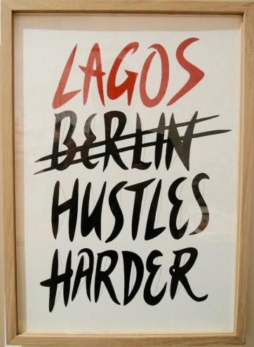 """Karo Akpokiere's drawing series """"Zwischen Lagos und Berlin (2015)"""" in the Arsenale at the Venice Biennale."""