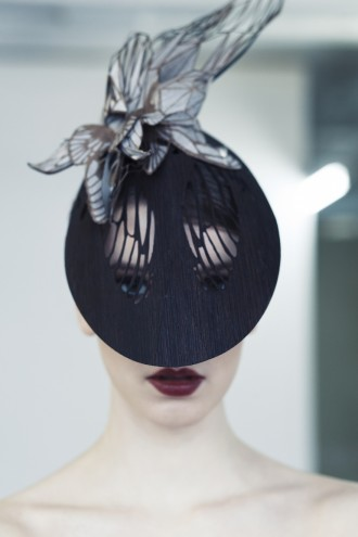 Elegant and finely crafted hat design by Emma Yeo