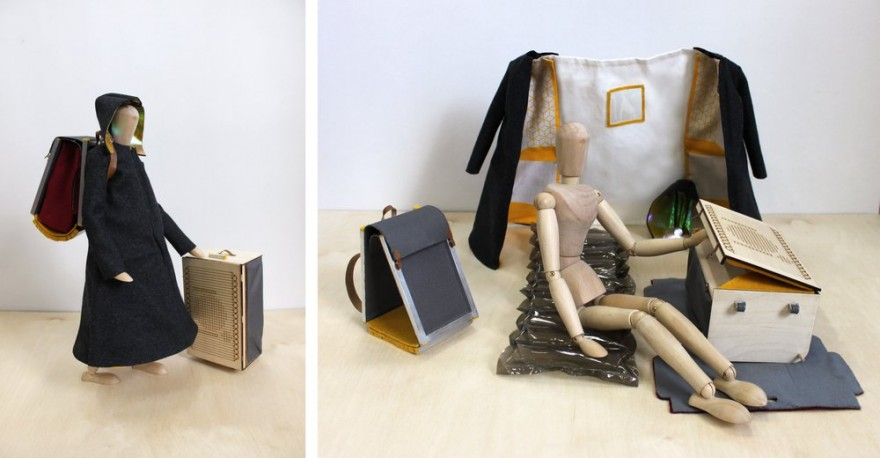 The Urban Nomad Kit by Barbara Peynot proposes that the urban nomad wear their home