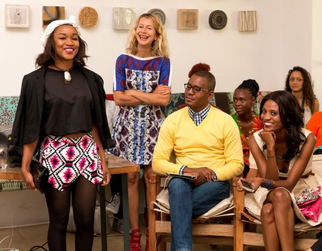 New York-based style expert Natalie Joos (second from left) shares a light moment with her Fashion Master Class in Lusaka. Image: Vince Banda, R & G