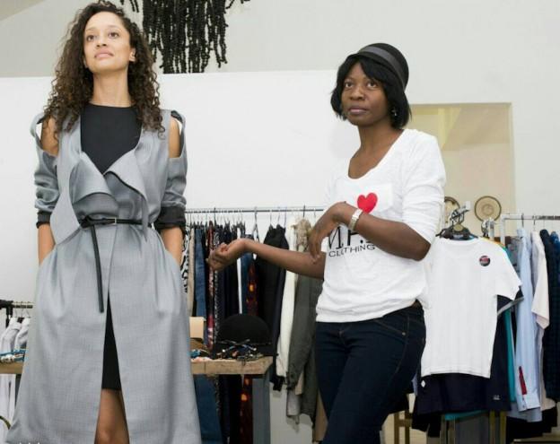 Tau co-founder Gloria Huwiler (left) with designer Mushamba Margaret. Image: Vince Banda, R & G