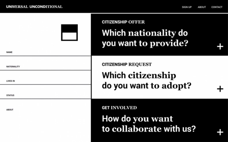 Stefania Vulpi has designed a conceptual online system that allows a network of people to share their nationality and the social benefits that come with it.
