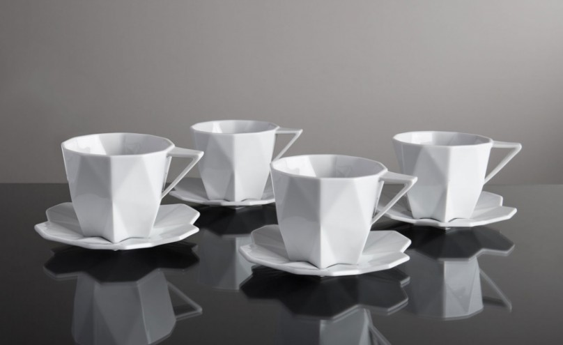 Designed by Svetlana Koženová, the Lilia Collection is a dinnerware set inspired by the slicing planes and crystalline shapes of Czech cubism.
