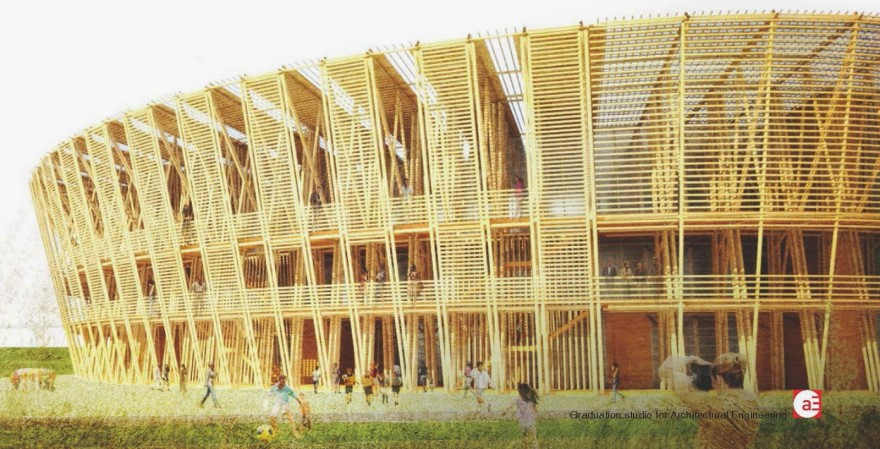 Shen chen designs a temporary stadium built in bamboo for Small house design made of bamboo