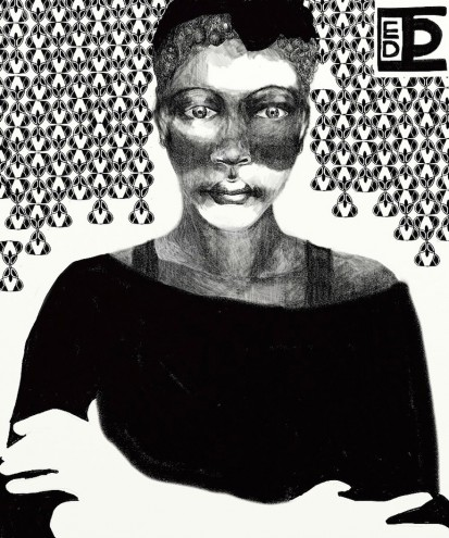Berlin-based Diana Ejaita illustrates bold, heavily patterned black and white figures.