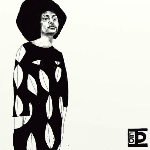 Berlin-based Diana Ejaita illustrates bold, heavily patterned black and white figures.