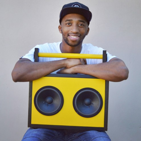 Tshepo Sedumo and one of his boombox designs