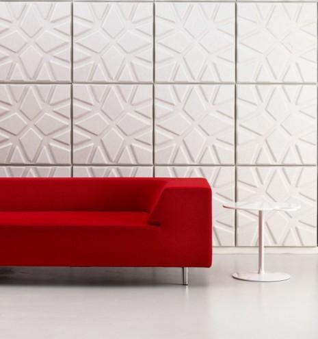 Geo sound absorbing wall panels by Ineke Hans.