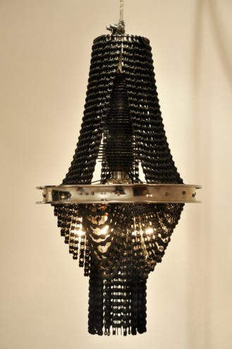 Recycled bicycle chain chanderlier by Carolina Fontoura Alzaga.
