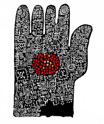 All Fingers Are Not Equal, 2008 by Victor Ekpuk.