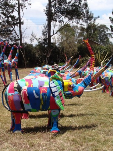 An elephant sculpture, made of discarded plastic.
