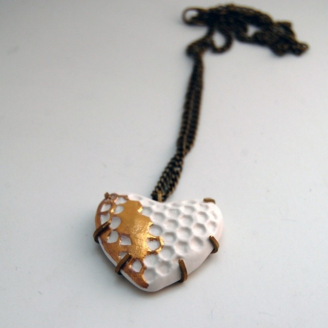 Ceramic Heart Pendant with antique brass.