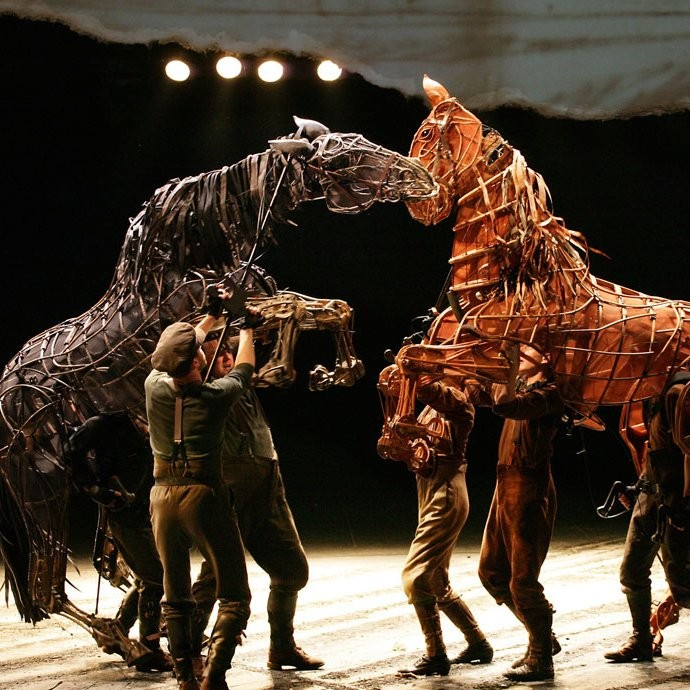 Topthorn (left) and Joey in the West End in the London production of War Horse.