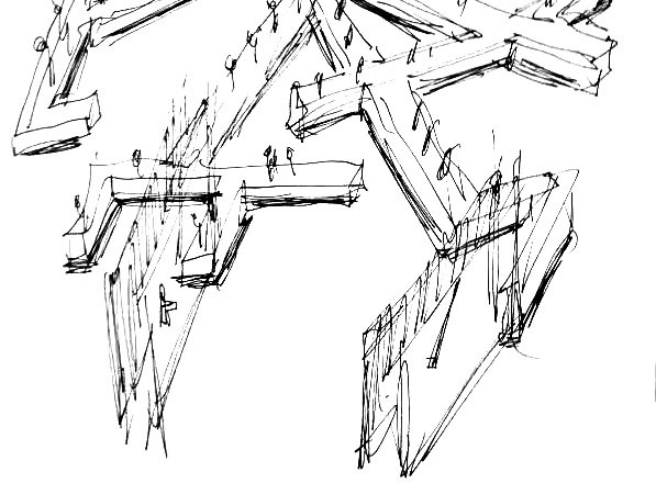 "Sketch of the table designed by Daniel Libeskind for Marina Abramovic's performance ""Counting The Rice""."