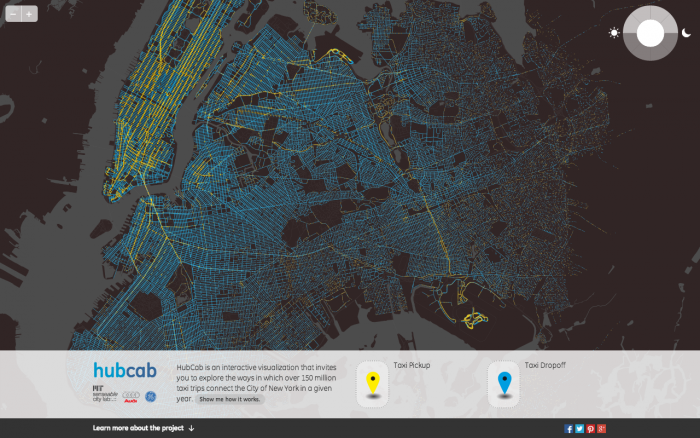 Screenshot of HubCab, showing pickups and drop offs of all 170 million taxi trips over one year in New York City. Image: MIT Senseable City Lab.