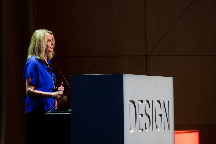 Paula Scher on stage at Design Indaba Conference.