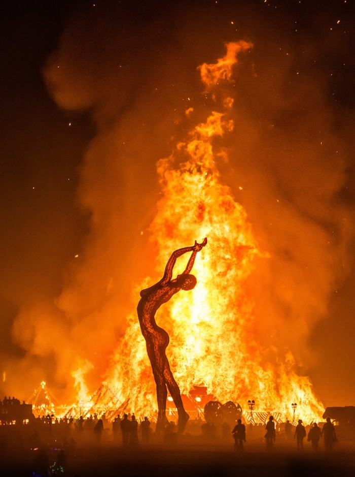 A burning art work at the Burning Man Festival.