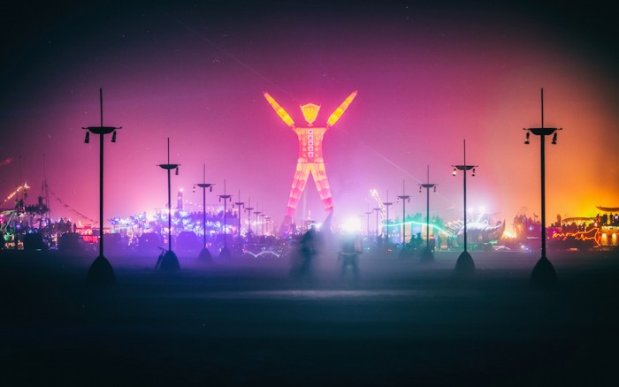 The symbolic effigy of the man at the Burning Man festival.