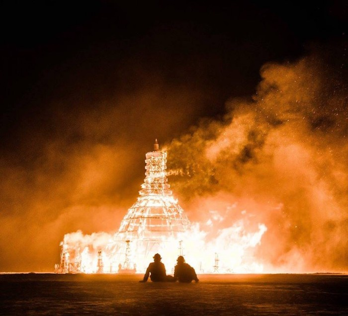 The temple burns on the last night of the festival. Photo by Toby Silverman.