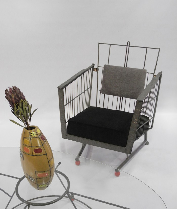 Philippe Bousquet and Carrie Pratt have given a discarded shopping trolley a second life as a lounge chair.