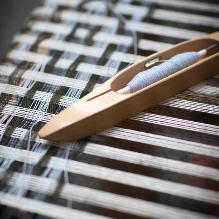 Margot Selby employs time old weaving techniques.