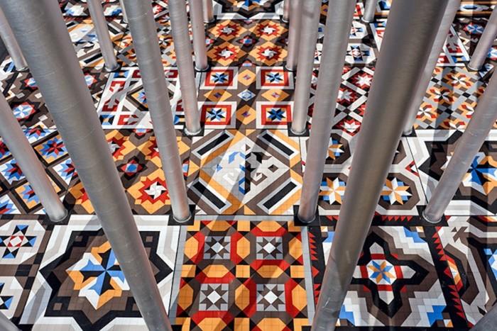 The floor of the Ekklesia was designed using wooden tiles