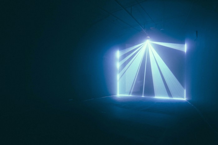"""Light Echoes"" at the Barbican Curve Gallery by Aaron Koblin and Ben Trickleback."