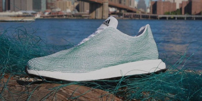 Adidas creates a running shoe made out of discarded fishing nets from the ocean.
