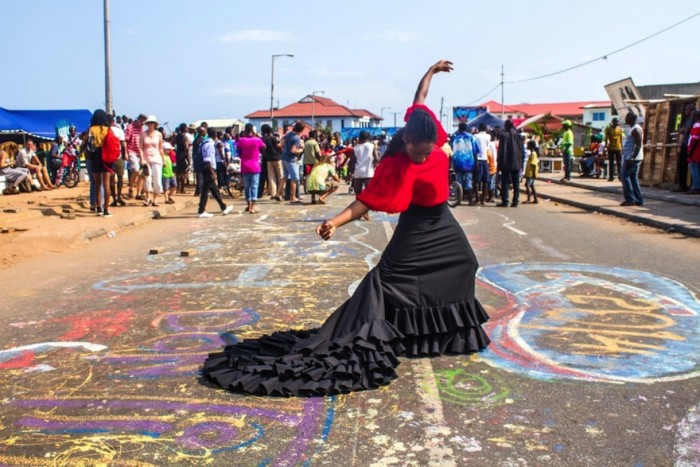 Ghanian flamenco artist, Yinka Graves, performs at Chale Wote 2014