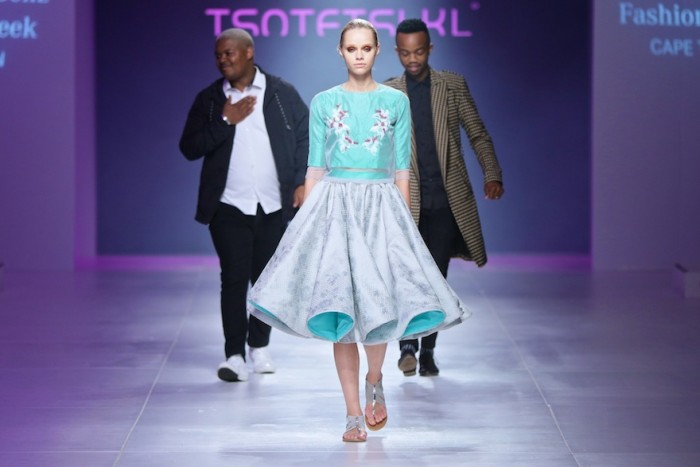 Tsotetsi Kl and Tuelo Nguyuza at Mercedes-Benz Fashion Week Cape Town