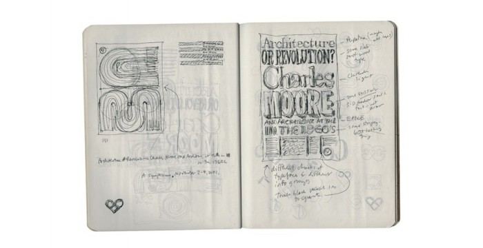 Detailed sketch of a poster for a Yale symposium on the architect Charles Moore. © Pentagram