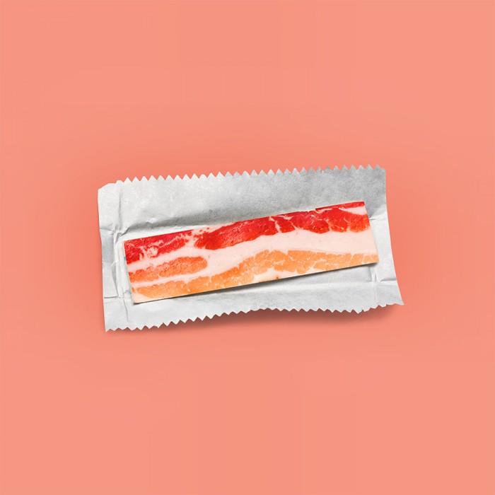 Eco-artist Dan Cretu creates quirky art like like bacon chewing gum using food.