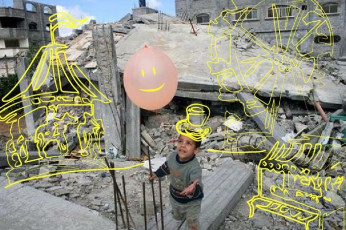 Cin's art compares what the lives of Syrian children should be like with what their lives have become as a result of the war.