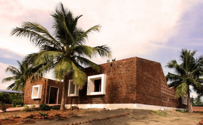 A contemporary rawbrick house in India shelters orphaned children