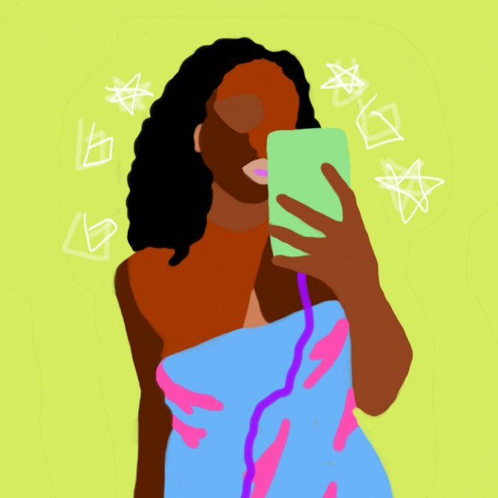 Body-positive artist Zola Lovette is the artist behind a series of illustrations celebrating bathroom selfies.