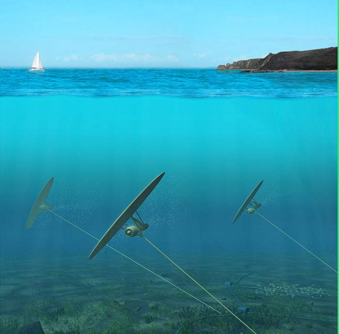 Kites moored to the ocean floor could harvest energy from ocean currents. Image: Minesto