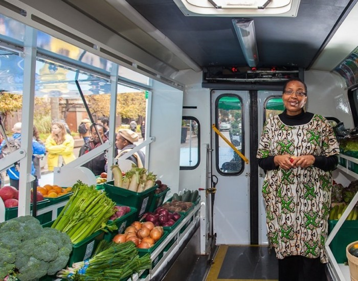 Shelves of fresh produce inside the refurbished FoodShare Truck