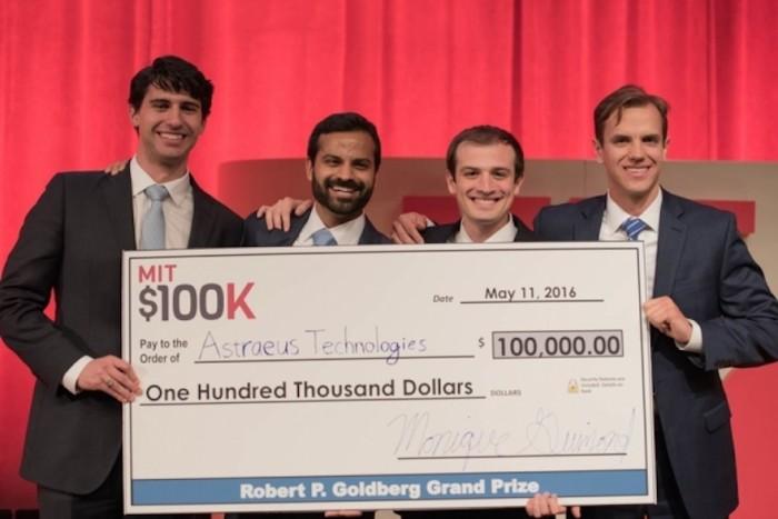 MIT $100K grand-prize-winning team Astraeus Technologies (left to right): Graham Lieberman, Jay Kumar, Alexander Blair, and Joseph Azzarelli. Image Credits: Michael Last/MIT News