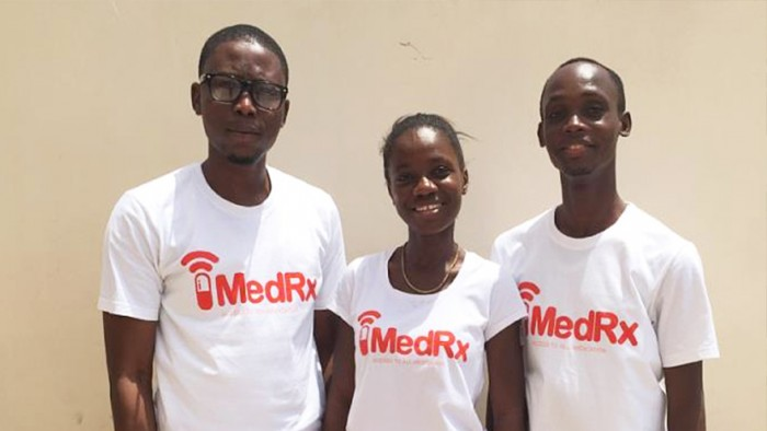 The developers of MedRX Hayford Brako, Victoria Acheampong and Yannick Kabu Bosomprah
