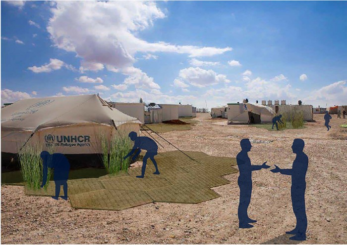 Artist's impression of RISE in use at a UN refugee camp