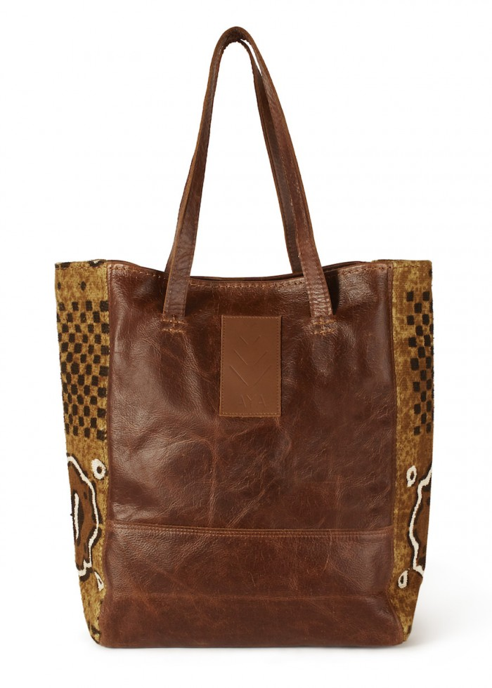 Aya Goods Bogolan Leather tote