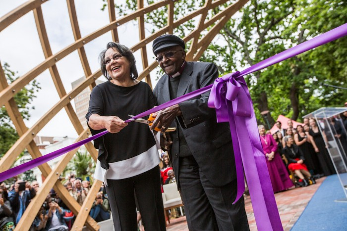 Cape Town Mayor Patricia De Lille and Archbishop Desmond Tutu at the ribbon cutting ceremony on 7 October